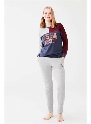 U.S. Polo Assn. U.S. Polo Assn. Kadın Lacivert Melanj Yuvarlak Yaka Pijama Takım Lacivert